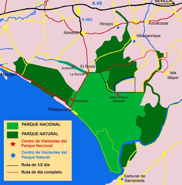 Marismas Del Guadalquivir Mapa.Bosques Y Marismas De Donana Medio Dia Rutas De Senderismo